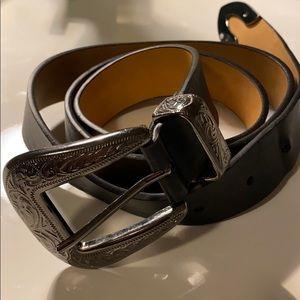 Woman's western style black belt